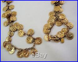 Vintage 1960's CHRISTIAN DIOR Coin Belt Necklace Gold Tone LOADS of Coin Charms