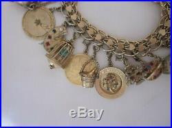 Vintage 60s Monet Gold Tone Charm Bracelet 17 Charms 7