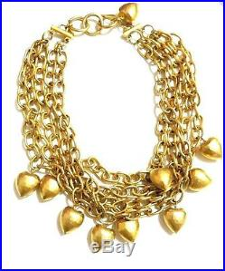 Vintage Anne Klein Heart Charm Multi-strand Necklace Gold Tone
