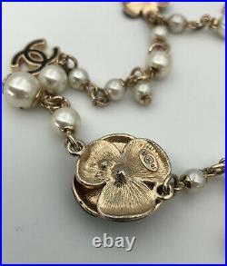 Vintage Authentic CHANEL CC Enamel Camellia Flower Charm & Pearl Necklace 46