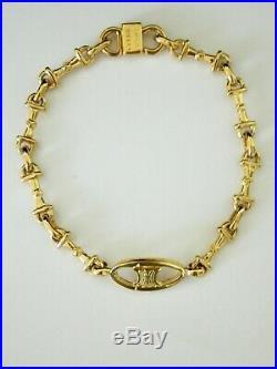 Vintage CELINE Gold Tone Bracelet Logo Charm with Box