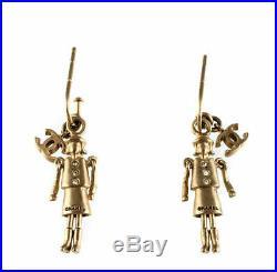Vintage CHANEL Matte Gold Tone CoCo Charm Dangle Push Back Earrings