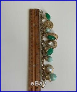 Vintage CORO Peking Glass Goldtone Chunky Charm Fob Bracelet, Faux Jade Charms