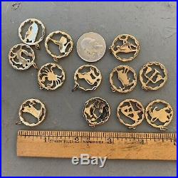 Vintage Charm Lot Gold Tone Metal Astrology Jewelry 12 Months! Nos