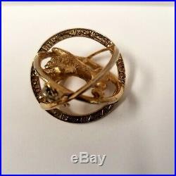 Vintage Crown Trifari Zodiac Leo Charm Pendant Gold Tone Orb 1950s Mid Century