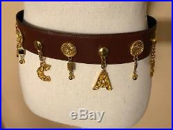 Vintage ESCADA Belt Brown With Gold Tone Charms Great Condition