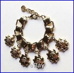 Vintage Givenchy Chunky Gold Tone Logo Charm Bracelet, 1980s-90s France 7.75