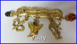 Vintage Gold Tone Fleur de Lis Lion Angel Pearls Rhinestone Charm Pin Brooch