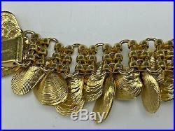 Vintage Gold Tone NAPIER Shell Charm Bracelet Eugene Bertolli Beautiful