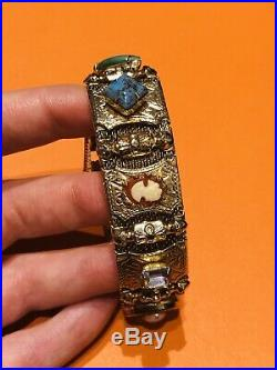 Vintage Gold Tone Victorian Style Cameo Charm Slide Bracelet