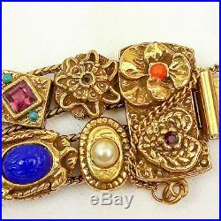 Vintage Gold Tone costume jewlery Goldette Double Row Sliding Charm Bracelet G11
