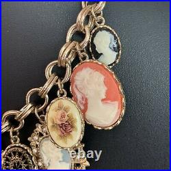 Vintage Graziano Cameo Charm Necklace Gold Tone 16 Inch With 3 Inch Extension