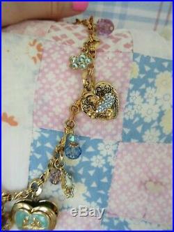 Vintage Kirks Folly Blue Heart Forget Me Knot Goldtone Charm Necklace Lovebirds