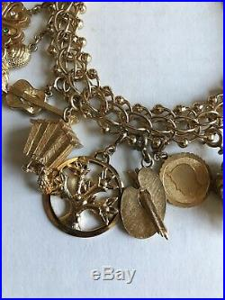Vintage Large Monet Gold Tone Wide Charm Bracelet Box Tongue Clasp 12 Charms