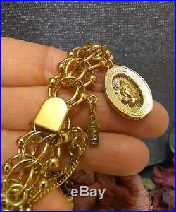 Vintage Monet (8)Charms Bracelet Interlocking Woven Safety Chain FREESHIP
