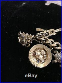 Vintage Monet Moveable Chunky Large Goldtone Bracelet 9 Charms Buddha Car Xmas
