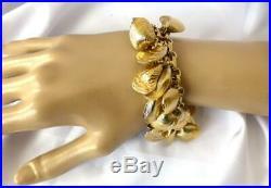 Vintage NAPIER Gold-tone Sea Shells Clams Eugene Bertolli Charm Bracelet