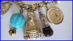 Vintage Napier Asian Gold Tone Charm Bracelet Buddah Glass Beads Lantern Signed