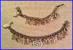 Vintage ca. 1960 KENNEDY Gold Tone Charm Bracelets Donkey & State of Mass. RARE
