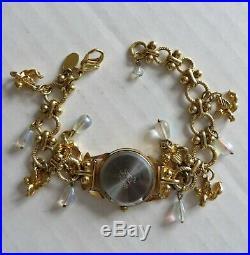 Vtg 80s KIRK'S FOLLY Lady Watch Cherub Angels Charm Bracelet Retired VERY RARE
