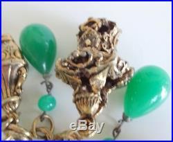 Vtg Art Deco Chinese Peking Glass Gold Tone Charms Tear Drops Fob Bracelet