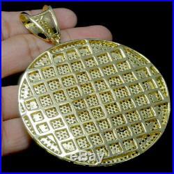 Yellow Gold Tone Black Canary Crown Big Bold Round Medallion Charm Pendant 3.5