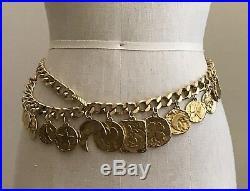 Yves Saint Laurent VTG 80s Gold Tone Clover Heart Moon Chain Link Charm Belt