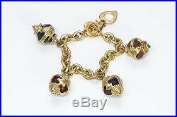 Yves Saint Laurent YSL Gold Tone Enamel Charm Bracelet
